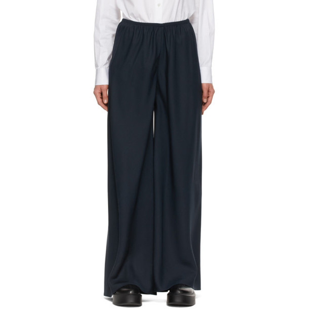 The Row Navy Silk Andres Trousers in midnight