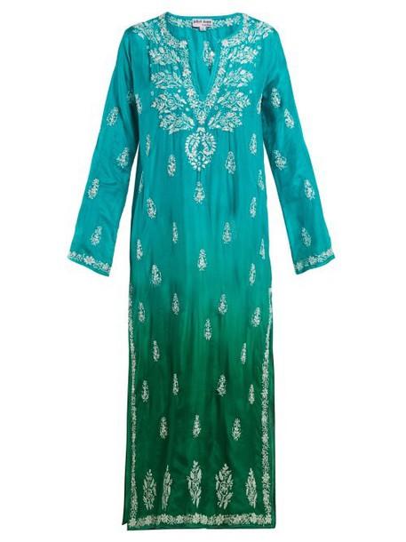 Juliet Dunn - Sequin Embellished Embroidered Silk Kaftan - Womens - Green Multi