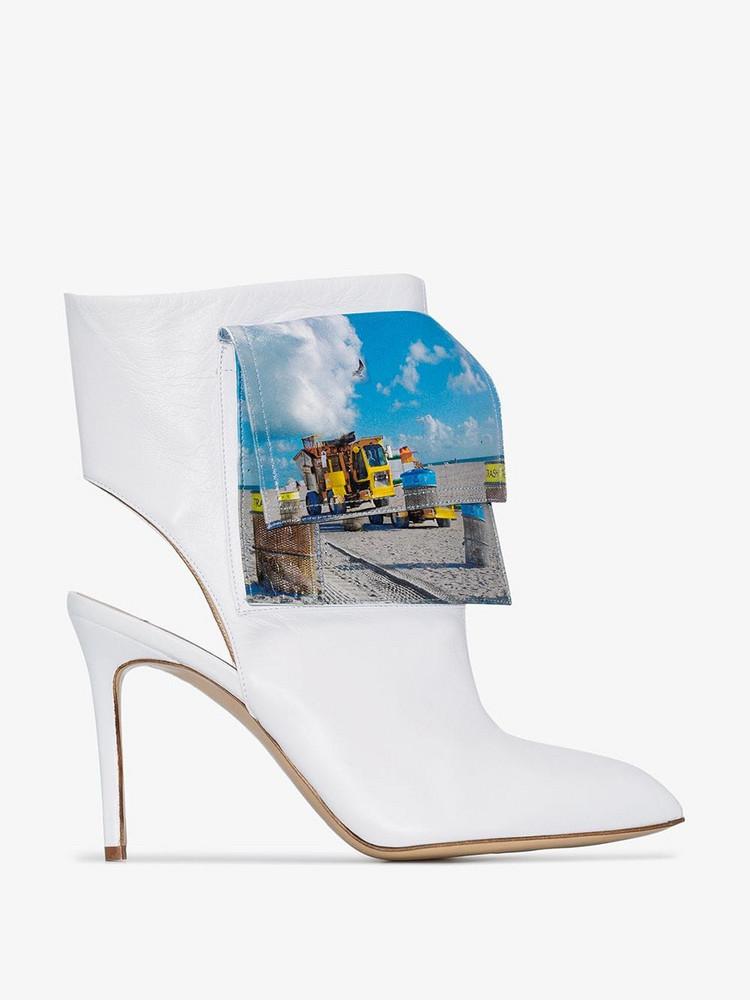 Natasha Zinko 100 beach trash ankle boots in white