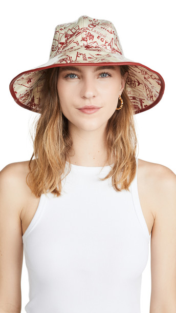 Tory Burch Printed PVC Bucket Hat in red