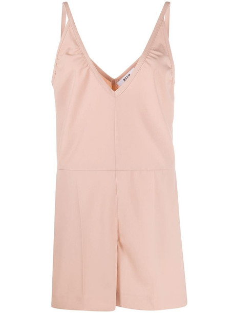 MSGM deep V-neck pleat detail playsuit in pink