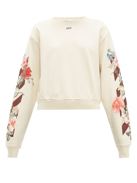 Off-white - Floral And Logo Print Cotton Jersey Sweatshirt - Womens - Cream Multi