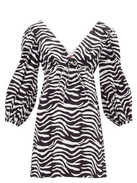 Staud - Keshi Zebra-print Cotton-blend Mini Dress - Womens - Black White