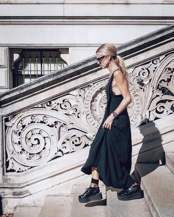 dress black dress maxi dress black sandals socks