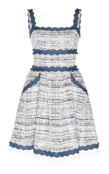 Zuhair Murad Asturias Broderie Anglaise-Trimmed Tweed Dress Size: 34 in navy