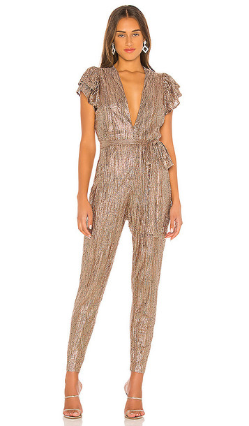 Sabina Musayev Cooper Jumpsuit in Metallic Copper