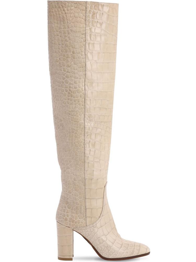 STRATEGIA 80mm Croc Embossed Over The Knee Boots in beige