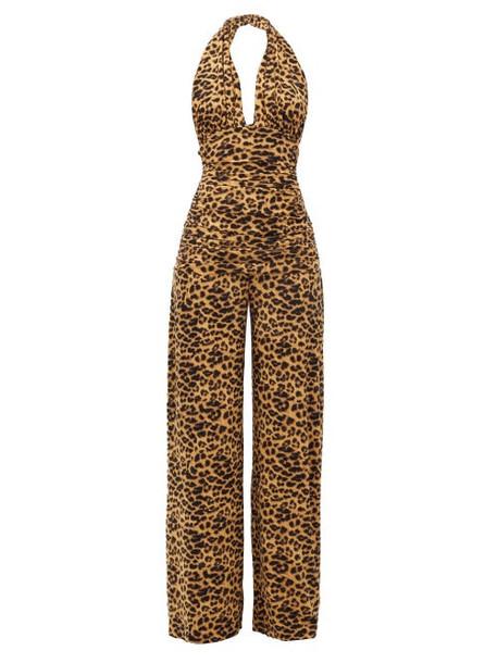 Norma Kamali - Halterneck Leopard-print Jumpsuit - Womens - Leopard