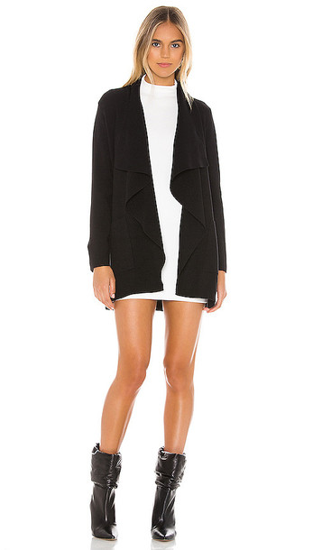 cupcakes and cashmere Marta Sweater Drape Front Jacket in Black