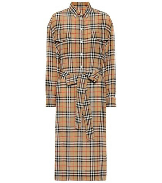 Burberry Check silk shirt dress in beige