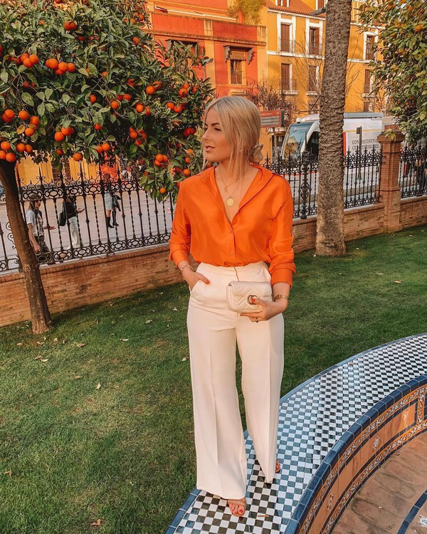 top shirt orange h&m wide-leg pants high waisted pants gucci bag sandals