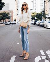 jeans,high waisted jeans,cropped jeans,pumps,crossbody bag,white sweater