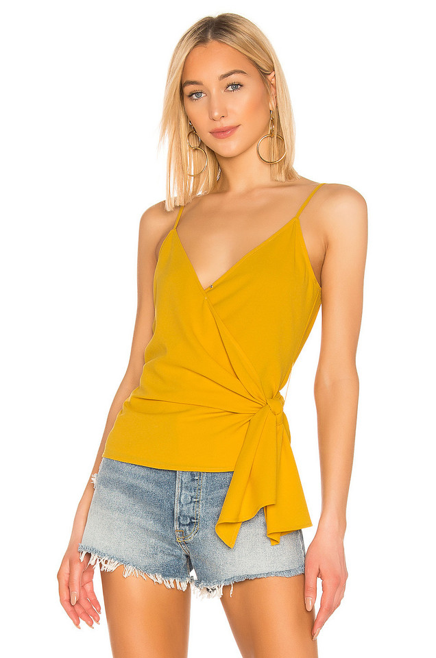 1. STATE Wrap Front Knot Detail Top in yellow