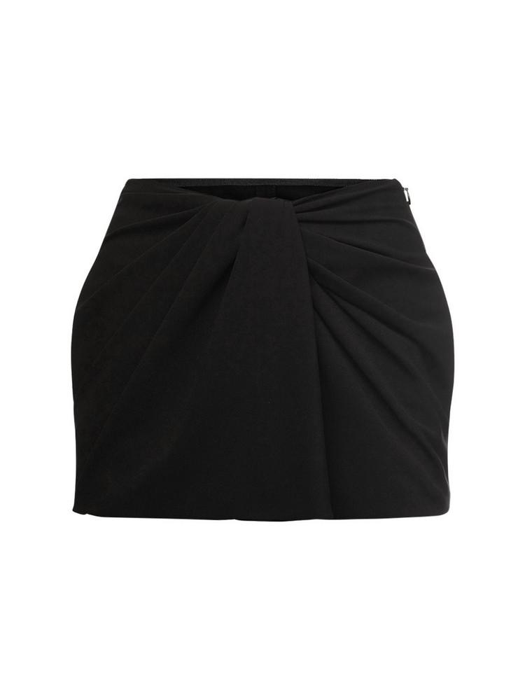 VALENTINO Knot Draping Stretch Cady Mini Skort in black