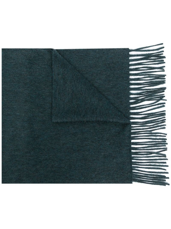 N.Peal wooven cashmere scarf in green