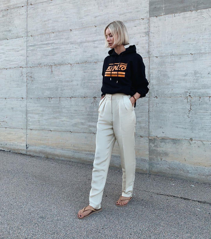 sweater hoodie black hoodie kenzo white pants high waisted pants slide shoes