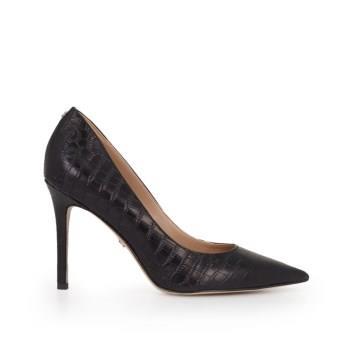 Sam Edelman Hazel Pointed Toe Heel Black Croc Leather