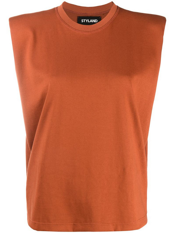 Styland boxy sleeveless T-shirt in orange