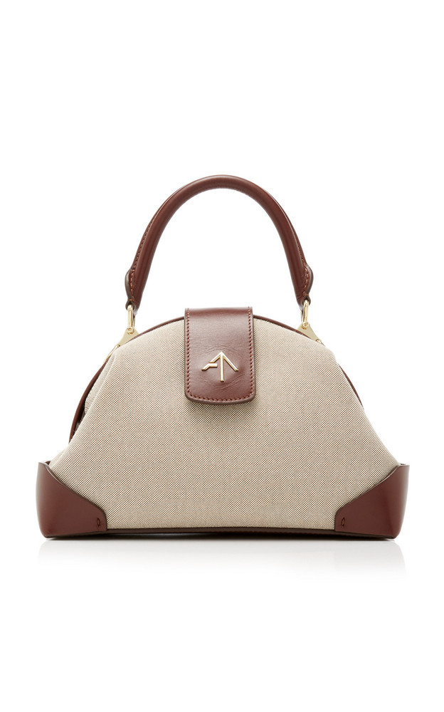 Manu Atelier Demi Leather-Trimmed Canvas Top Handle Bag in neutral