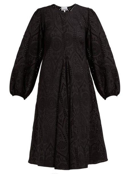 Ganni - Sandrose Broderie Anglaise Cotton Dress - Womens - Black