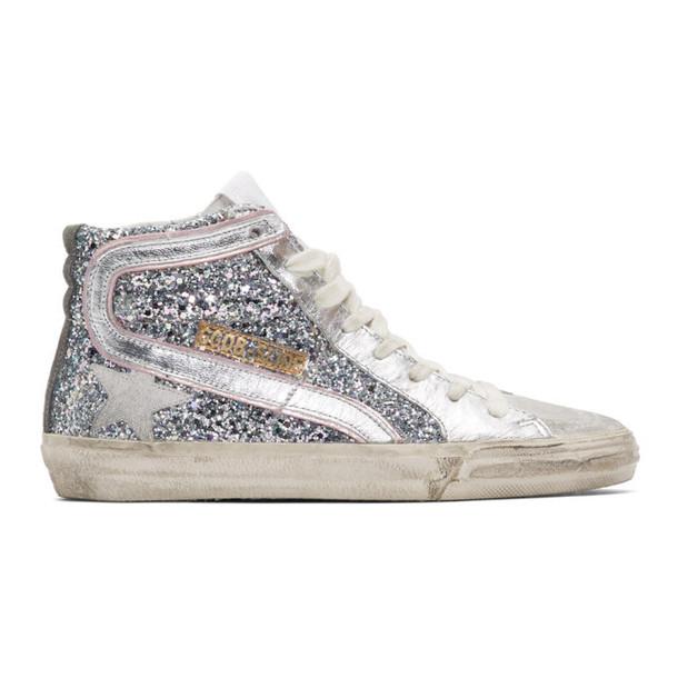Golden Goose Silver & Pink Glitter Slide Sneakers
