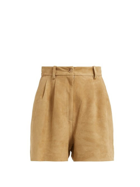 Nili Lotan - Roxana High Waisted Suede Shorts - Womens - Beige
