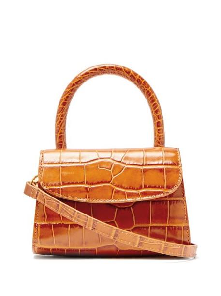 By Far - Mini Crocodile Effect Leather Cross Body Bag - Womens - Tan