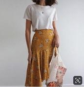 skirt,yellow,floral,midi skirt,floral skirt,flounce,pinterest,asymmetrical skirt,pattern