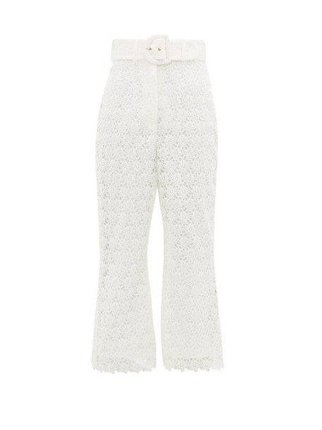 Zimmermann - Super Eight High-rise Lace Trousers - Womens - Ivory