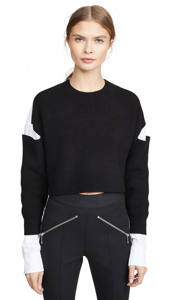 alexanderwang.t Cropped Pullover Oxford Shirt in black / white