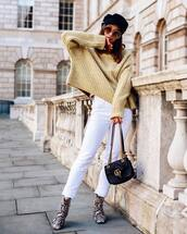 sweater,turtleneck sweater,knitted sweater,na-kd,ankle boots,snake print,white jeans,skinny jeans,black bag,gucci bag,beret