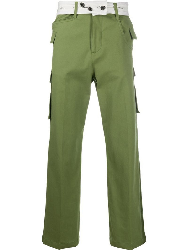 Ader Error wide leg trousers with belt button detail in green