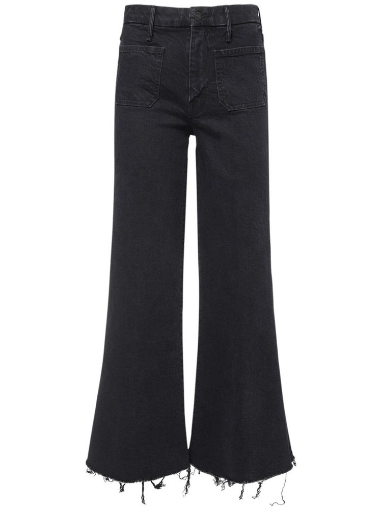 MOTHER The Patch Roller Ankle Fray Jeans in black