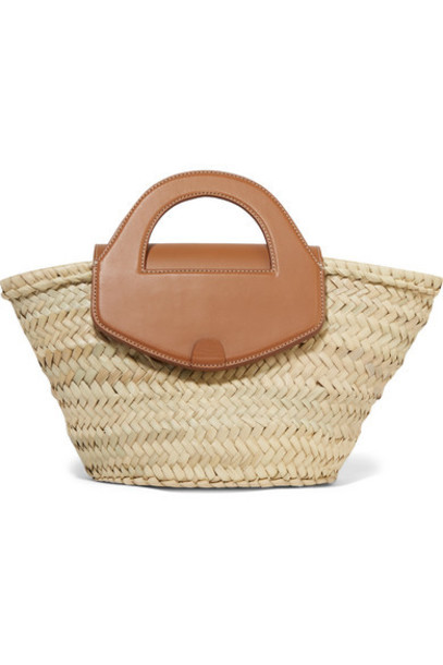 HEREU - Net Sustain Alqueria Leather-trimmed Woven Straw Tote - Beige