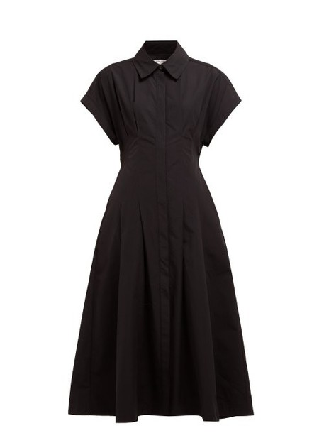 Three Graces London - Alette Cut Out Cotton Shirtdress - Womens - Black