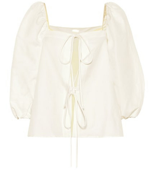 Cult Gaia Aurel linen and cotton top in white