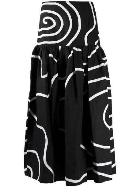 Mara Hoffman gathered skirt with swirl pattern in black