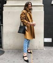 coat,trench coat,oversized coat,mules,jeans,blakc bag,bucket bag