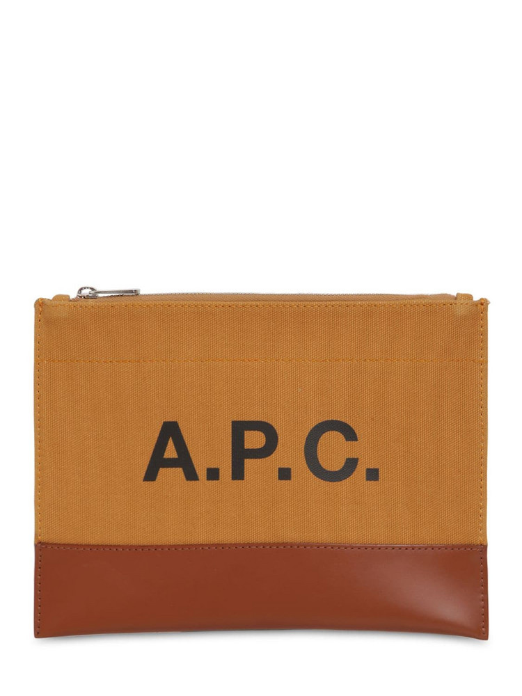 A.P.C. Logo Printed Cotton & Leather Pouch