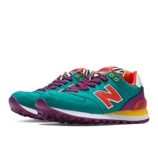 New Balance Pop Safari 574 Women's 574 Shoes - Teal, Berry, Yellow (WL574RP)