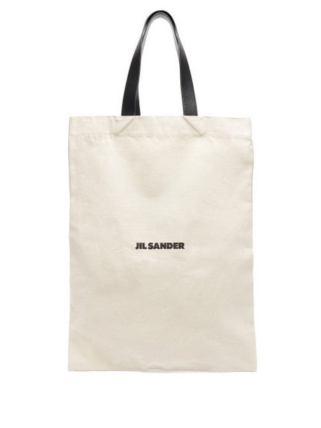 Jil Sander - Logo Print Large Canvas Tote Bag - Womens - Beige