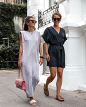 dress,midi dress,slide shoes,bag