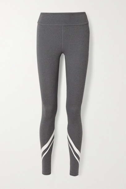 Tory Sport - Printed Stretch-jersey Leggings - Dark gray