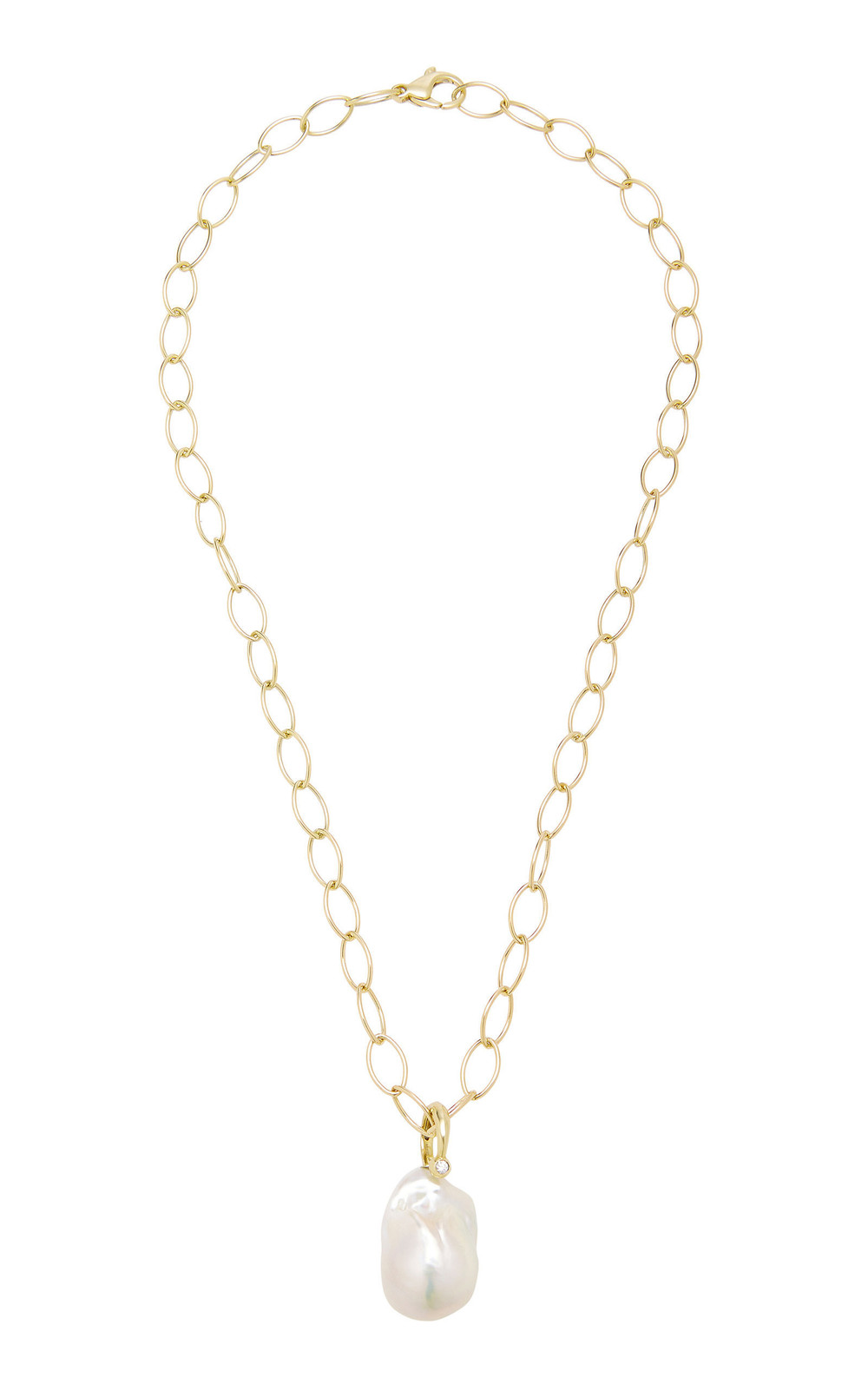 Mizuki Freshwater Pearl And Diamond Ring Slider Charm On Oval Link Necklace in white