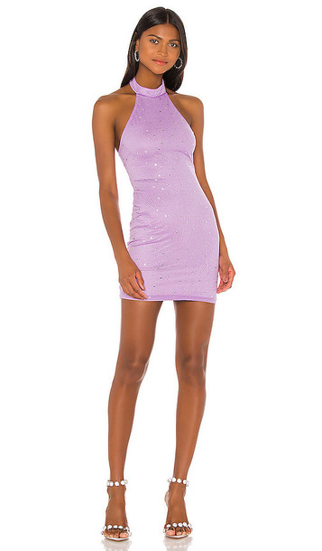 superdown Taylia Halter Mini Dress in Purple
