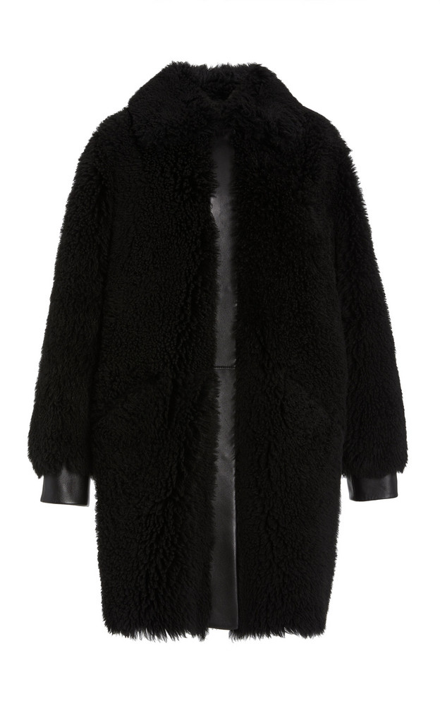 Common Leisure Moon Leather-Trimmed Shearling Coat in black