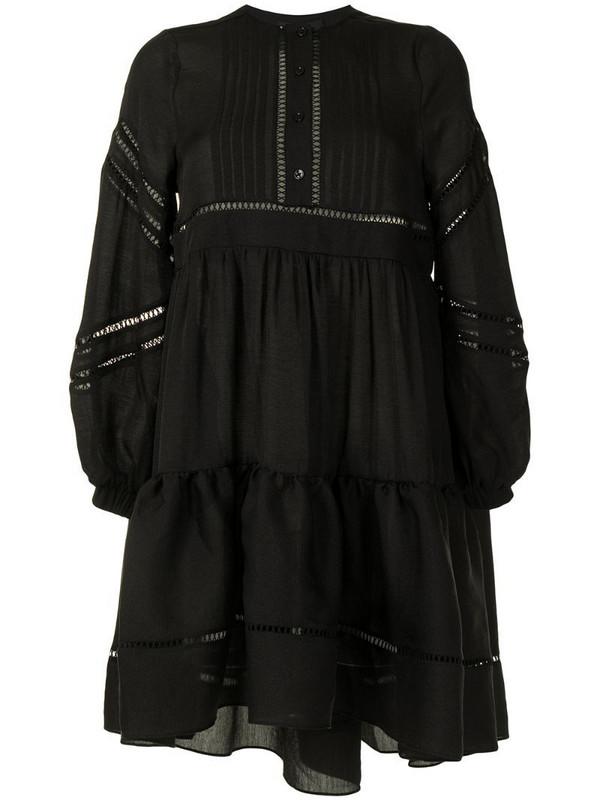 Cynthia Rowley lace-trimmed mini dress in black
