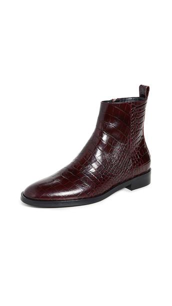 Club Monaco Trycia Flat Boots in burgundy
