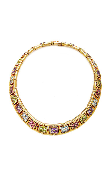 Eleuteri Vintage Bulgari 18K Yellow Gold and Sapphire Necklace