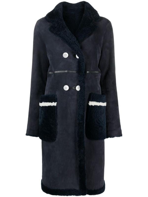 Suprema double-breasted sheepskin coat in blue